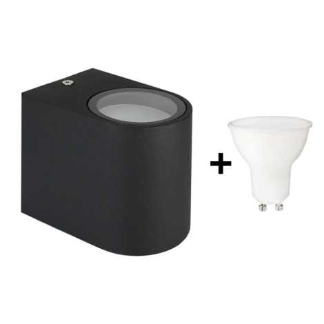 Applique A Ip54 Nero Esterno 230v 1xgu10 Da Led Torre 6w Yb6gyf7v
