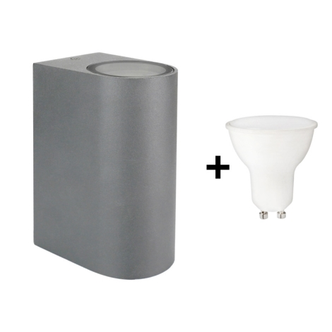 Da A Esterno 6w Applique Torre Led Grigio 2xgu10 230v Ip54 bY7f6gyv