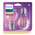 KIT 2x Lampadina LED VINTAGE Philips E27/7W/230V 2700K