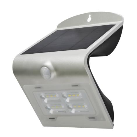 Argento Senzore Lampada Con Solare Led Led Ip65 2w Da Parete rdoCWexB
