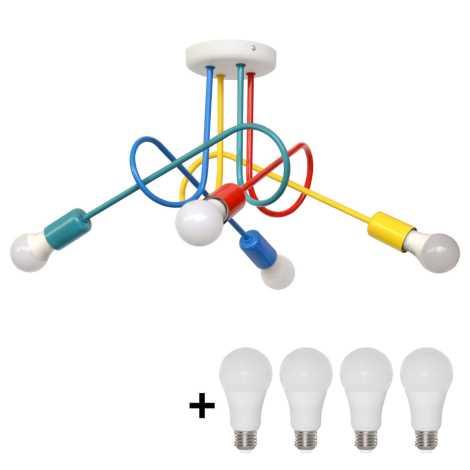 Lampadario LED fisso per bambini OXFORD 4xE27/10W/230V