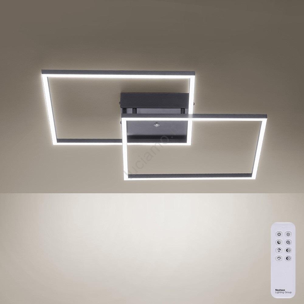 Accensione Lampadario Con Telecomando paul neuhaus 6437-18 - lampadario a plafone led dimmerabile inigo con  telecomando 2xled/12,5w/230v