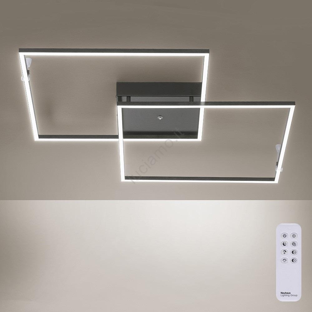 Accensione Lampadario Con Telecomando paul neuhaus 6438-18 - lampadario a plafone led dimmerabile inigo con  telecomando 2xled/21w/230v