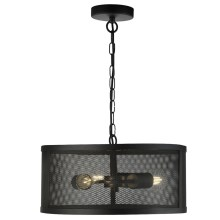 Searchlight - Lampadario a sospensione con catena FISHNET 3xE27/60W/230V nero