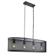 Searchlight - Lampadario a sospensione con catena FISHNET 4xE27/60W/230V nero