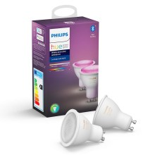 SET 2x Lampadina LED dimmerabile Philips WHITE AND COLOR AMBIANCE GU10/5,7W/230V