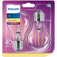 SET 2x Lampadina LED Philips E27/4,3W/230V 2700K