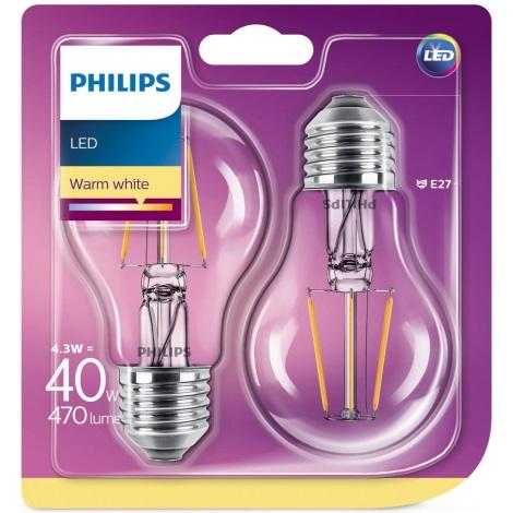 SET 2x Lampadina LED Philips E27/4,3W/230V 2700K
