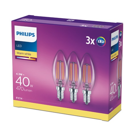 SET 3x Lampadina LED Philips E14/4,3W/230V 2700K