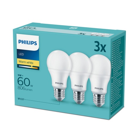 SET 3x Lampadina LED Philips E27/9W/230V 2700K