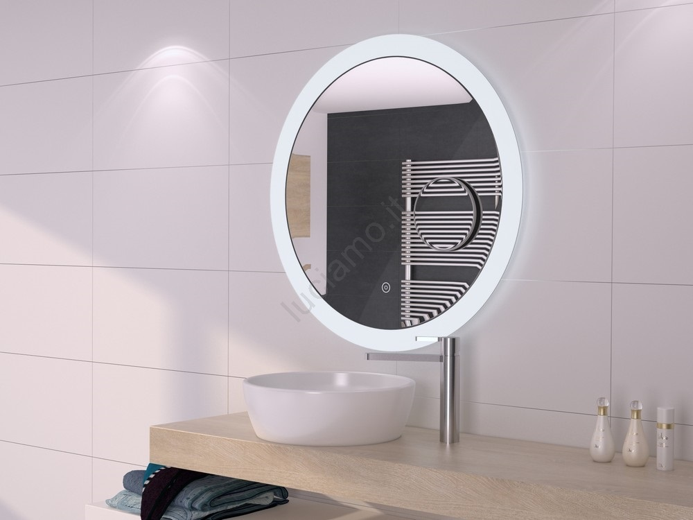 Specchio da bagno LED dimmerabile con retroilluminazione con specchio  rimovibile